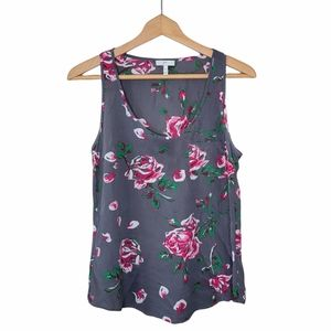 Joie | Gray Pink Silk Floral Tank Blouse